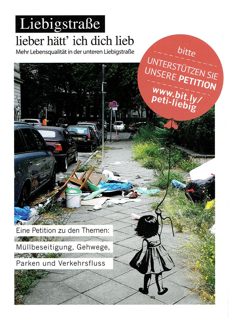 Flyer mit Petitionsaufruf