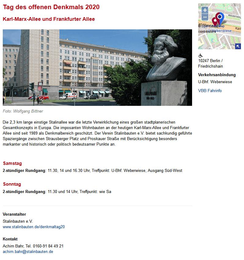 Tag des offenen Denkmals, Berlin 2020
